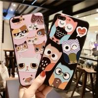 Softcase Iphone Case Owl & Cat Faces Case Iphone 6 6plus 7 7plus 8 8+