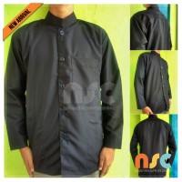 NEW! Baju Koko Warna Hitam Pria Muslim Dewasa Tangan Panjang