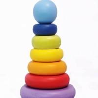 Jual Mainan kayu edukatif Menara Donat Pelangi / Ring Toys Murah
