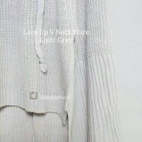 Jual [TERLARIS] Sweater Lace Up VNeck Flare Grey- Sweater Musim Dingin Murah