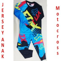 Jersey anak Fox Blue sepeda motocross setelan
