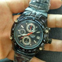 Jam Tangan Seiko Chronograph Full Black Super