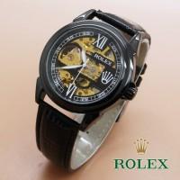 Jual SALE jam tangan rolex automatic skeleton leather 2 full black terlaris Murah