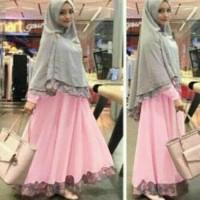 Baju pakaian Wanita Muslim Fashion  Syari Bergo Safira Pink Soft