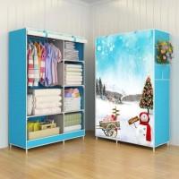 Jual 03 SnowMan Multifunction Wardrobe Cloth Rack with cover lemari pakaian Murah