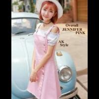 Jual Jual [Jennifer overall AK] dress wanita katun strecth pink murah Murah