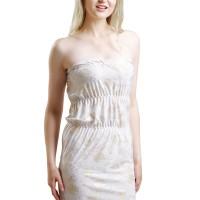 (Sale) L-1022 Gold Flower White Lingerie Dress