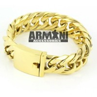 Gelang Rantai Big Size Jumbo Besar Titanium Gold Emas (ARMANI ACC)