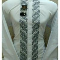 Produk Terlaris  Baju Koko Lengan Panjang Katun Paris Bordir Putih