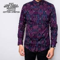 Jual kemeja batik motif songket ungu Murah
