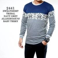 Jual kaos panjang cowok garis garis navy sweatshirt salur sweater motif Murah