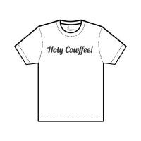 """J.EZRA T-Shirt Kaos Size XL Unisex  """"Holy Cowffee"""" Black on White"""