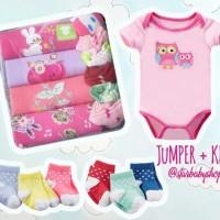Baju Bayi Baru Lahir Newborn  Jumper Carters 4 Pcs + KK 3 Pasang Cewek