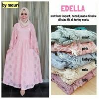 Long Dress Maxi Wanita Muslim brokat lace import gaun pesta edella XL