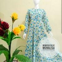 Gamis Motif Mimosa Blue Murah Terbaru / Real pict