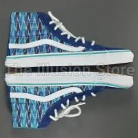 Sepatu Skateboarding Vans T375 Blue Motif Original Asli Second Bekas