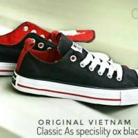 Free Bonus !!! Sepatu Converse Vietnam Unisex Low - Black (Red Inner)