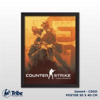 Poster Counter Strike GO - Game CSGO 30 x 40 cm + Frame Tanpa Kaca A3