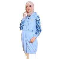 Jual Jaket Hoodie Wanita Cewek Cewe Fleece Biru Army Hijacket CF Sky Blue Murah