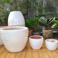 Pot Tembikar Putih Hitam 40cm