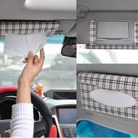 Tempat Tisu Car Tissue Holder Mobil MOTIF Jepit Sun visor BONUS ISI