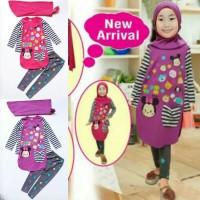 Baju Muslim Anak Perempuan Little Pineapple Tsum Garis Diskon