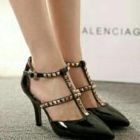 Sandal Wanita Pesta Model Terbaru 15888 High Heels Stut Hitam