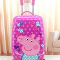 Jual Tas Koper Anak Fiber 4 roda Peppa Pig Love Murah Grosir Terbaru Murah