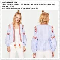 Outer Cardigan Etnik Lengan Balon Garis  Baju Wanita Korea Import Biru