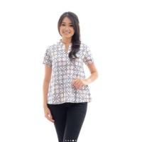 AKT0156 Atasan Batik Cap Indigo  Baju Seragam Blouse Kemeja Wanita