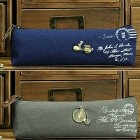 Tempat Kotak Pensil Pencil Case Bag Retro Metal