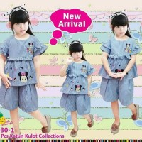 Baju Setelan Anak Perempuan Little Pineapple Katun Garis Biru Tsum