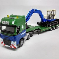 Diecast Miniatur Truk Trailer LOW LOADER WITH EXCAVATOR KDW ori murah