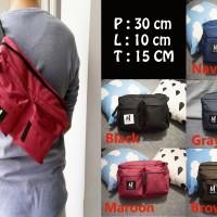 Jual tas selempang kanvas pria/sling bag/ cowok / travel bag waistbag mejor Murah