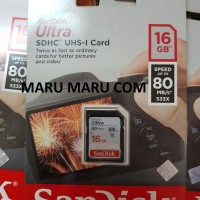 Sandisk SDCARD SDHC 16GB Ultra 80mbps Class 10 For Camera / Laptop