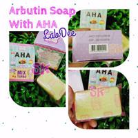 Real Pic ARBUTIN PINK SOAP LABDEE / SABUN ARBUTIN + AHA LAB DEE