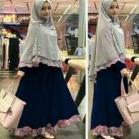 Pakaian Wanita Hijab Muslim Baju Syari Bergo Safira Navy