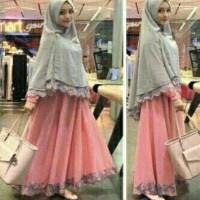 Pakaian Wanita Hijab Muslim Baju Syari Bergo Safira Pink