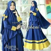Pakaian Wanita Hijab Muslim Baju Syari Bergo Ribbon Farghani Ayra Navy