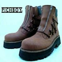 Jual  sepatu boots safety pria pichboy original double zipper trac T0210 Murah