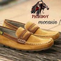 Jual  sepatu casual pria slip on suade pichboy slop formal warna t T0210 Murah