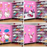 double shoes shoe rack karakter boneka hello kitty lemari rak sepatu