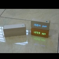 Jual Digital Led clock Wood style limited edition (Blue LED) Murah