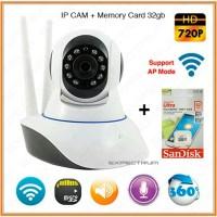 PAKET IP CAMERA CCTV WIFI HD 720P + MEMORY MICRO SD SANDISK 32GB