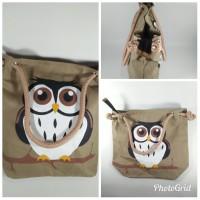 Jual tas totebag sumbu / jinjing motif owl (sablon) Murah