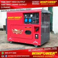 Diesel Genset / Generator Winpower 5000 Watt, Silent,Electric (WP7500)