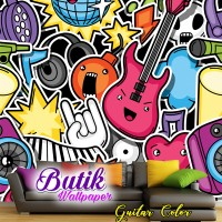 Wallpaper Custom Motif Grafity Gitar
