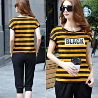Jual Baju Wanita Pakaian Baru Trendy  [Stelan Black Salur Kuning LO] Murah