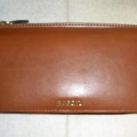 Fossil Memoir Top Zip Clutch Brown Leather Wallet