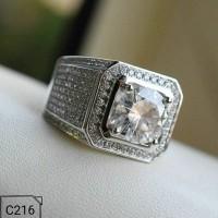 Cincin Pria Perak Silver 925 Lapis Emas 18K Batu Cubic Zirconia C216